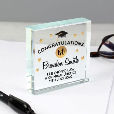 Personalised Graduation Large Crystal Token - Congratulations